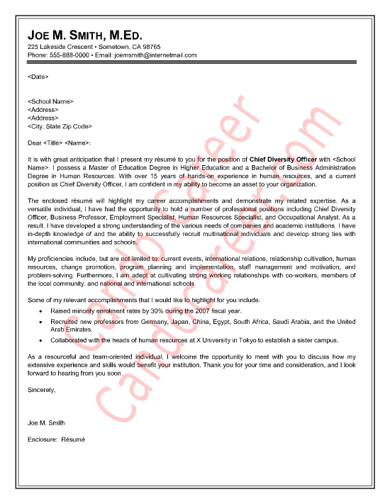 Chief Diversity Officer Cover Letter Sample by Cando Career ...