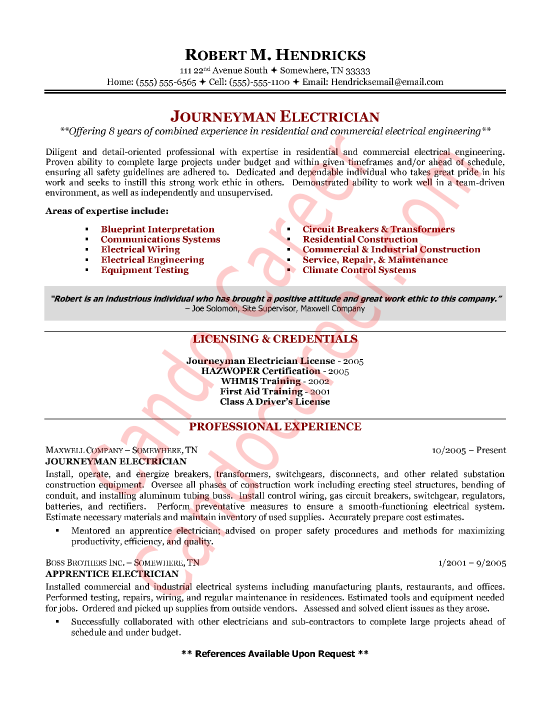 Electricians resume template
