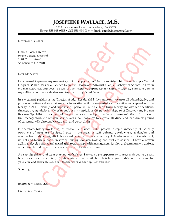 Sample Cover Letter For Healthcare Administration