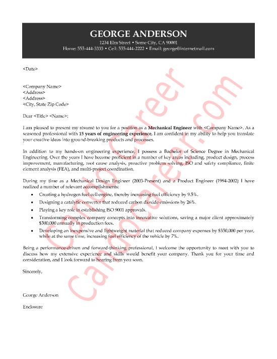 Attractive Mechanical Engineer Cover Letter Sample