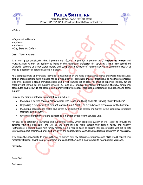Nurse Cover Letter Sample  Registered Nurse Cover Letter Examples