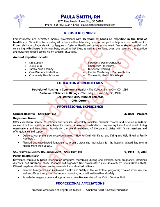 sample of registered nurse resumes